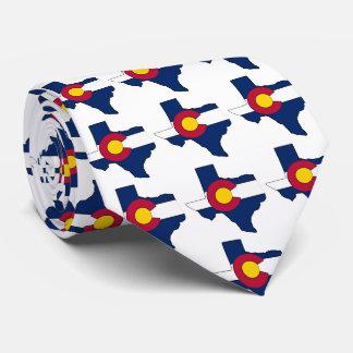 Texas outline Colorado flag necktie