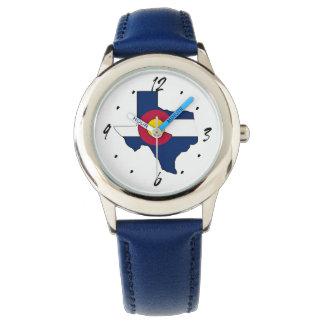 Texas outline Colorado flag wrist watch