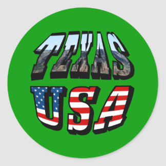 Texas Picture and Flag Text Round Sticker