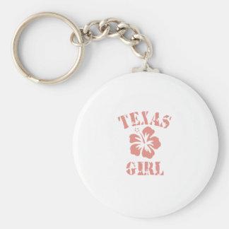 Texas Pink Girl Basic Round Button Key Ring