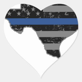 Texas Police & Law Enforcement Thin Blue Line Heart Sticker