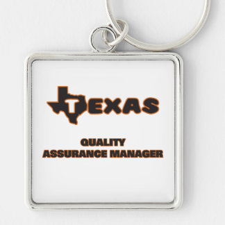 Texas Quality Assurance Manager Silver-Colored Square Key Ring