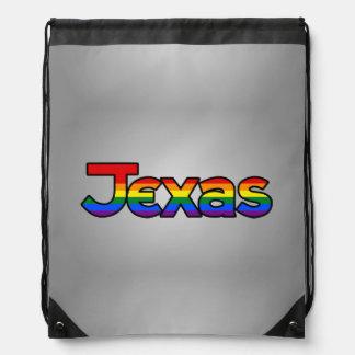 Texas Rainbow text Backpack Drawstring Backpack