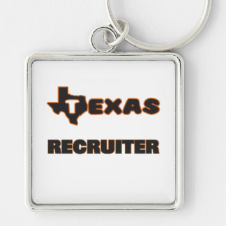 Texas Recruiter Silver-Colored Square Key Ring