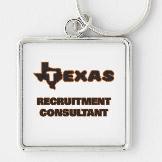 Texas Recruitment Consultant Silver-Colored Square Key Ring