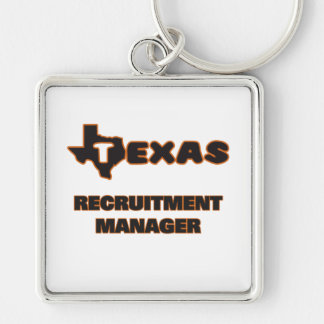 Texas Recruitment Manager Silver-Colored Square Key Ring