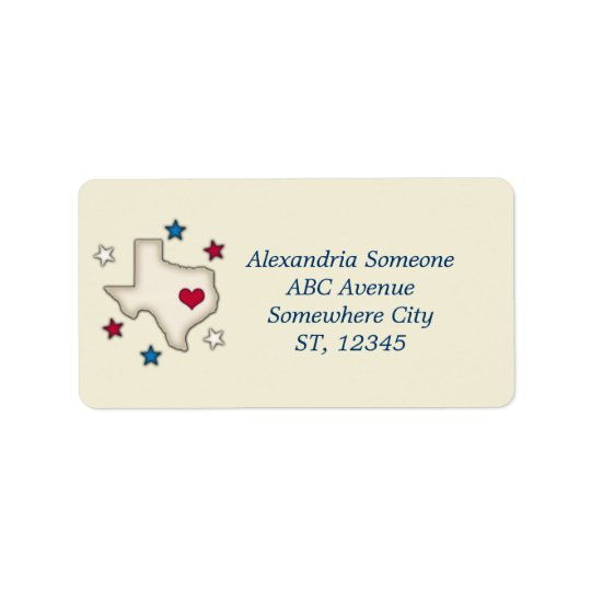 Texas Red Heart Address Label