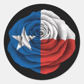 Texas Rose Flag on Black Stickers