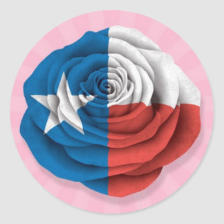 Texas Rose Flag on Pink Stickers