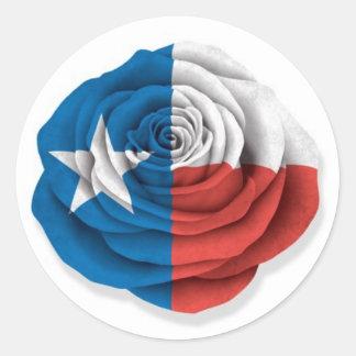 Texas Rose Flag on White Round Sticker