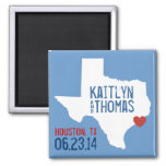Texas Save the Date - Customisable City Square Magnet