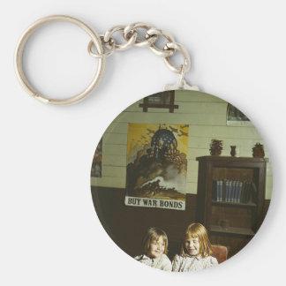 Texas School Girls Basic Round Button Key Ring