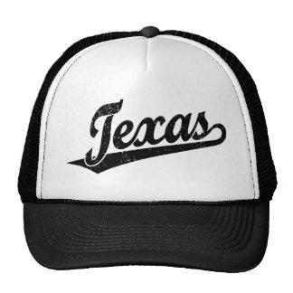 Texas script logo in black distressed cap