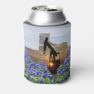 Texas Shape Oil Pump Jack At Sunset Bluebonnets
