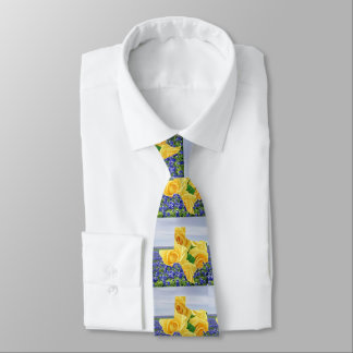 Texas Shape Yellow Roses And Bluebonnets Tie