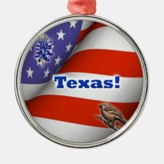 Texas Silver-Colored Round Decoration