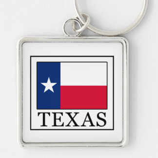 Texas Silver-Colored Square Key Ring