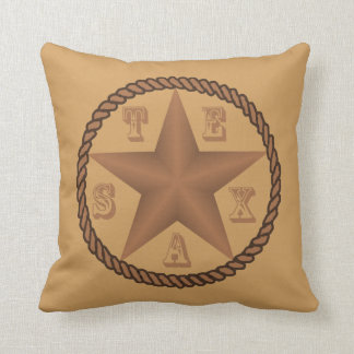 Texas Star With Rope And Text Pillow ANY COLOR