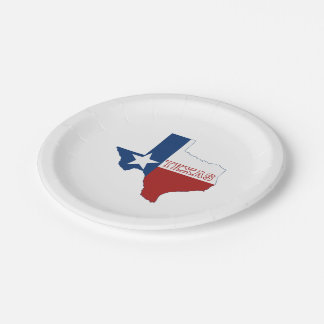 Texas State Flag and Map Paper Plate