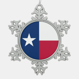 Texas state flag - high quality authentic color pewter snowflake decoration