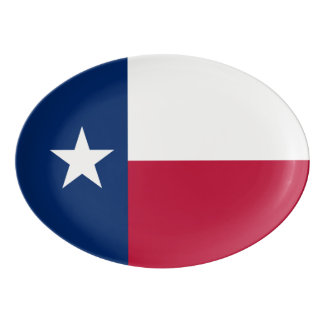 Texas state flag - high quality authentic color porcelain serving platter