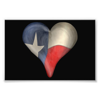 Texas State Flag In A Heart Art Photo
