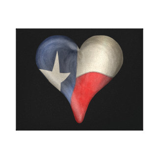 Texas State Flag In A Heart Canvas Print