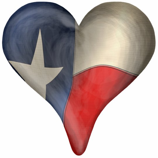 Texas State Flag In A Heart Standing Photo Sculpture