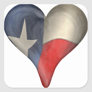 Texas State Flag In A Heart Square Stickers