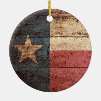 Texas State Flag on Old Wood Grain Christmas Ornament