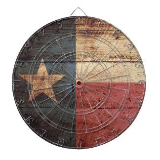 Texas State Flag on Old Wood Grain Dartboard