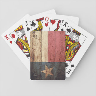 Texas State Flag on Old Wood Grain Poker Deck