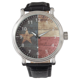 Texas State Flag on Old Wood Grain Watch