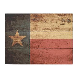 Texas State Flag on Old Wood Grain Wood Wall Decor