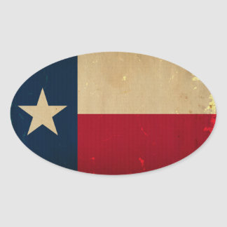 Texas State Flag VINTAGE Oval Sticker