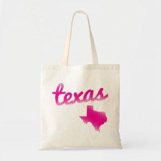 Texas state in pink tote bag