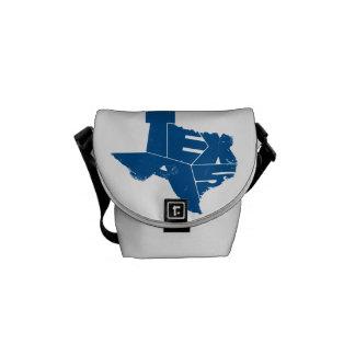 Texas State Map Blue Lettering Messenger Bag