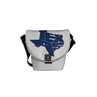 Texas State Map Indigo Lettering Messenger Bag