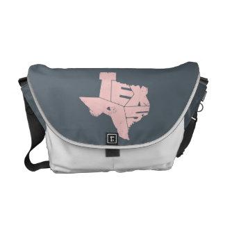 Texas State Map RoseQuartz Lettering Messenger Bag