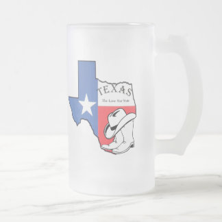 Texas State Map with Star, Boots, Hat Frosted Mug