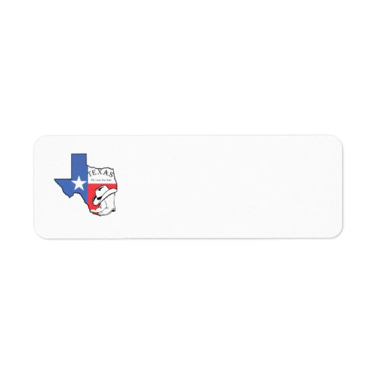 Texas State Map with Star, Boots & Hat Label Return Address Label
