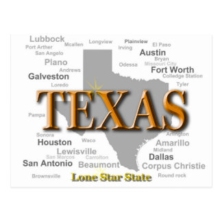 Texas State Pride Map Silhouette Postcard
