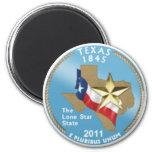 Texas State Quarter 6 Cm Round Magnet
