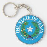 Texas State Seal and Motto Basic Round Button Key Ring