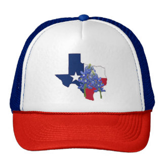 Texas State Shape Flag and Bluebonnets Trucker Hat