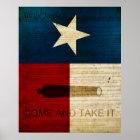 Texas State w/ Alamo Flag Poster