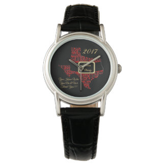 Texas Strong State Christmas Black Leather Watch