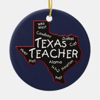Texas Teacher Round Ceramic Decoration