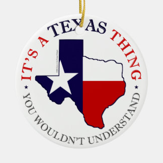 Texas Thing Round Ceramic Decoration