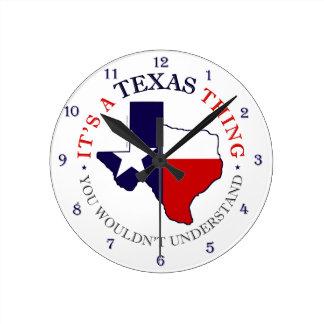 Texas Thing Round Clock